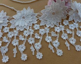 White Venise Fringe Lace Trim, Flowers Tassel Fringe Trim Lace, Wedding Dresses Lace Supply