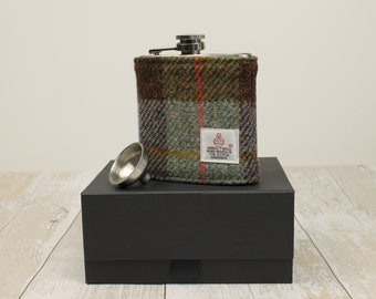 Groomsmen Gift Hip Flask Harris Tweed McLeod Tartan Best Man Gift Usher Gift Wedding Groomsmen Flask Scottish Gift Gifts for Men Plaid