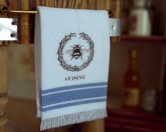 Blue French Country Tea Towel for Dollhouse, 1:12 scale