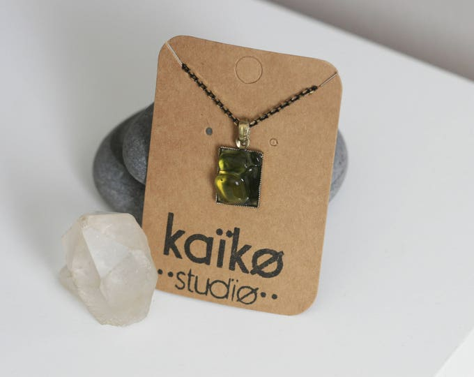 Irish Seaglass and Vintage Brass Necklace | Seaglass Jewellery  | Jewelry | Green Seaglass | Beachglass