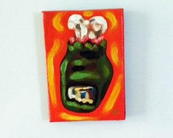 Zombie Toe, Magnet, Original Painting, Creepy Magnet, Zombie, Zombie Painting, Kitchen Art