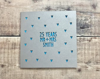 Personalised 25th Anniversary Card, 25 Years, Parents Silver Wedding, Husband Anniversary, Wife, Lasercut, Wedding Anniversary Gift, Mr Mrs
