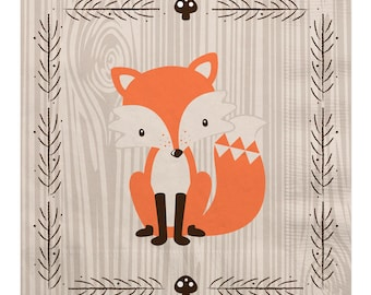 Woodland Luncheon Napkin - Woodland Creatures Baby Shower or Birthday Party Supplies - Fox Napkins - Woodland Animals Napkins - 16 Count
