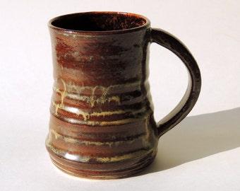 14 oz Mug Textured Ceramic Brown Mug Large