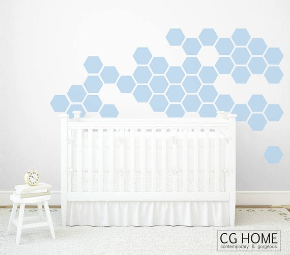 PASTEL powder blue HEXAGON geometric honeycomb Wall Decal vinyl at home Wall Sticker Removable Nursery Decor Crib Pattern