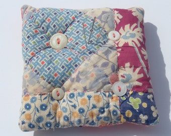 Upcycled Vintage Quilt Pincushion, Quilted Pincushion, Patchwork Pincushion