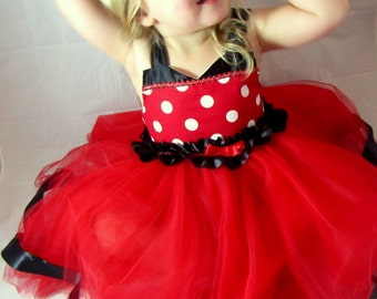 Minnie Dress: red & white polka dots with black ruffle tutu, wrap around easy on and off, adjustable, meet and greet, halloween costume