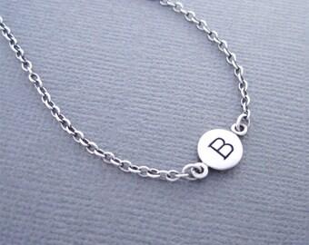 Letter B Bracelet, Initial B Bracelet, Initial Bracelet, Silver initial Bracelet, Charm Bracelet, Personalized Bracelet, B