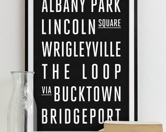Wall Art Subway Sign Typography Poster - Modern Art Print CHICAGO City