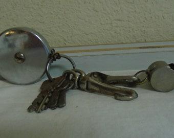 "Vintage 1950's Retractable Key Chain, Keys, and Whistle / ""Key BAK"" CTL CO."