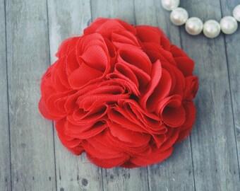 Red Chiffon, Flower Hair Clip, Bridal Hair Accessories, Wedding Flower, Bridesmaid, Flower Girl, Fascinator, Girl Hair Clip