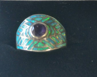 Vintage jewelry - Eye ring - Inlaid opal ring - Amethyst ring - Sterling silver ring - Size 9 ring