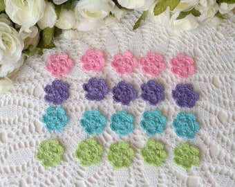 20 Lacy Crochet Flowers in Spring Colors - 1 1/2 inch or 3 3/4 cm