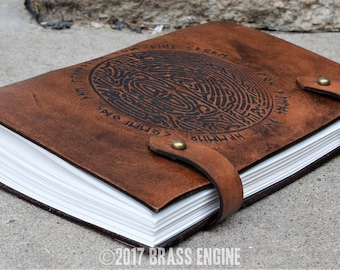 Bifrost Sketch Journal 6x9 - 120 pages - Hand Bound - Laser Etched - Briar Brown - Thor Futhark