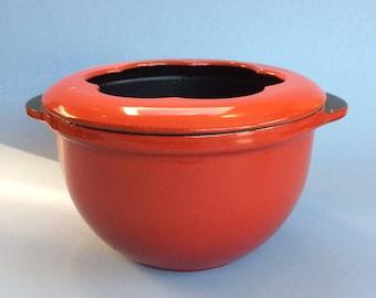 Vintage Red Enamel Cast Iron Fondue Pot France
