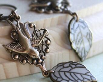 Dangle Earrings, Bird Earrings, Swallow Earrings, White Earrings, Leaf Earrings