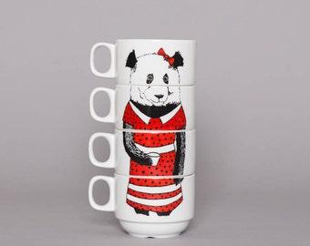 Set of 4 Coffee cups - Miss Panda