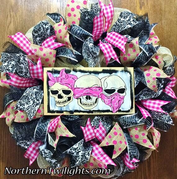 Skulls Pink Hear No Evil, See No Evil, Speak No Evil - Welcome Door Wreath