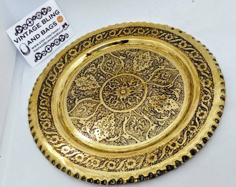 155mm vintage brass pin tray, vintage brass wall plaque, vintage trinket dish, vintage coin tray, brass trinket dish, pin tray, wall plate