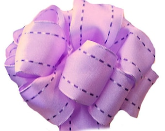 "1.5"" Lavender Purple - Wired Woven Ribbon with Purple Stitching -5 Yards"