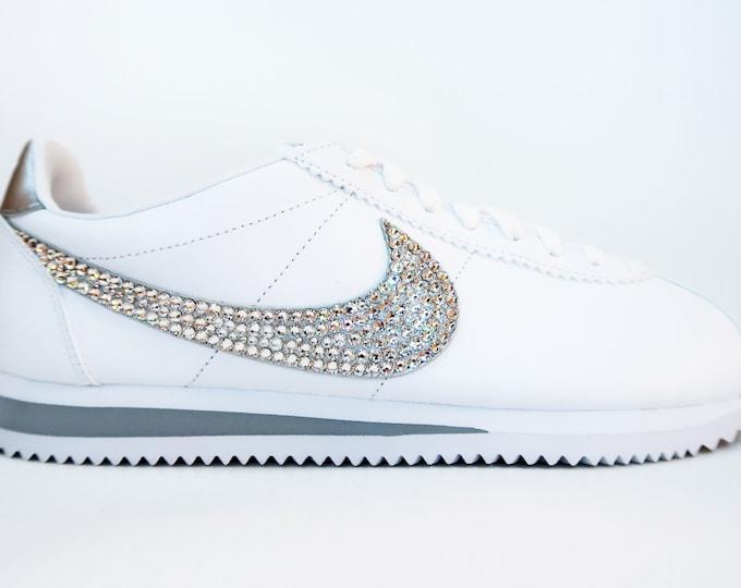 LUXURY White Customised Swarovski Nike Cortez Shoes - Colour Options Available