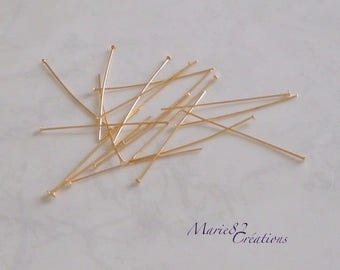 Nails / 50 X 0.75 mm gold plated flat head pins