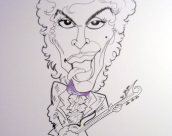 Prince Black and White Rock Caricature Rock Portrait Music Art by Leslie Mehl Art