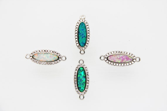 Synthetic Opal With CZ Micro Pave 8x16mm Oval Connector