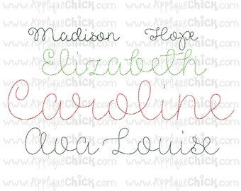 Vintage Stitch Script Embroidery Font, Bean Stitch, Hand-stitched look