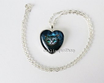 Chesire Cat Heart Necklace Alice in Wonderland Pendant Keyring Birthday Gift 1 inch hs164