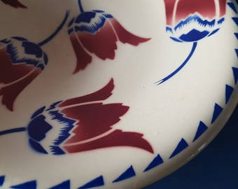 Vintage FrenchTulips 1 big serving plate..Flower...Blue Red...Badonviller 1920...french dinner...shabby chic...French Farmhouse kitchen.
