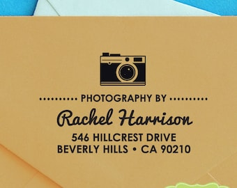 CUSTOM ADDRESS STAMP, personalized pre inked address stamp, pre inked custom address stamp, gift for photographer - d5-20