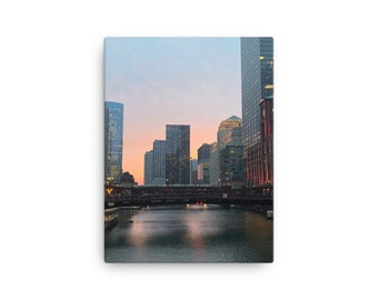Overlooking a Chicago Bridge at Sunset Canvas