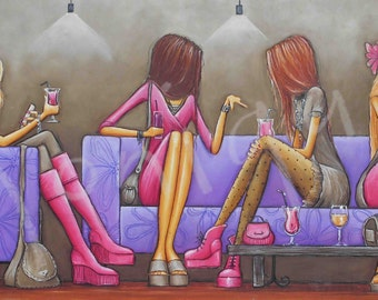 purple art, printable art, girls night out hand painted