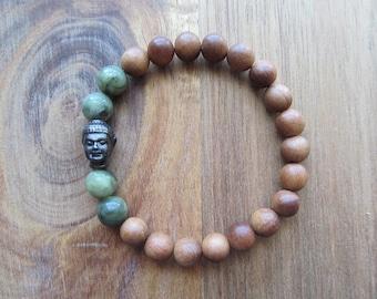 Buddha and Sandalwood Bracelet with Saguaro Jasper, Stacking Bracelet, Mala Bracelet, Layering Bracelet, Spiritual Jewelry, Yoga Bracelet