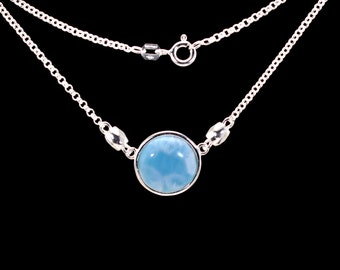 Natural Larimar 6ct (12mm) Cabochon Necklace (New Style) .925 Sterling Silver
