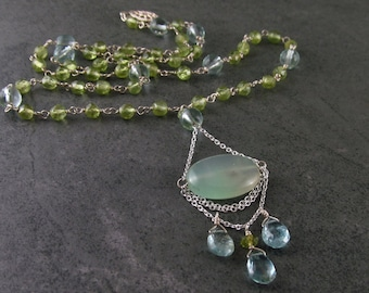 Peruvian blue opal necklace, handmade peridot, aquamarine sterling silver necklace-OOAK March and August birthstone