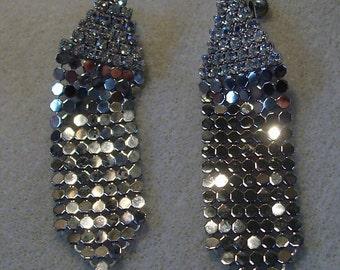 Vintage Metallic Mesh Chandelier Earrings Screw-On Retro Disco Style