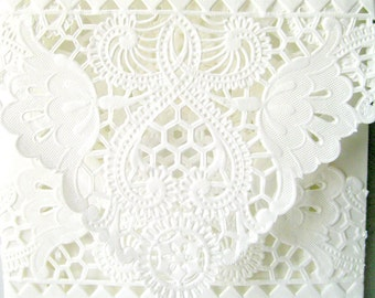 White lace envelopes 6 in square lace envelopes QTY 25  square doily envelopes romantic wedding liner envelopes