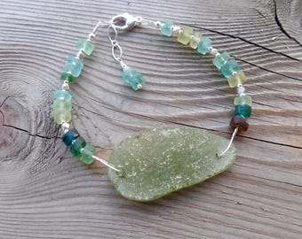 Rare Ancient Roman Glass and Sterling Silver Adjustable Bracelet