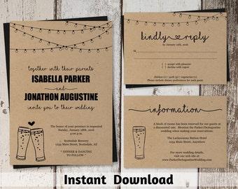 Brewery Wedding Invitation Template - Rustic Beer Pint Glass Toast Printable Set - Kraft Paper | Instant Download PDF Suite - String Lights