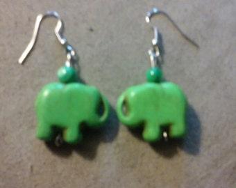 Green Howlite Elephant Earrings
