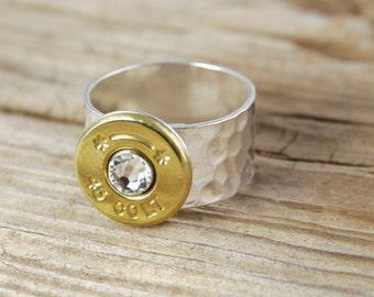 Bullet Ring / Hammered Bullet Ring SL-45C-B-HAMR / Hammered Ring / Silver Ring / Silver Hammered Ring / Silver Bullet Ring / Custom Ring