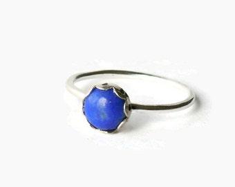Sterling silver lapis ring silver stack ring gemstone stacking ring stackable ring blue lapis lazuli