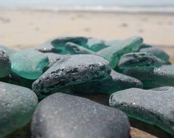 "20 pcs Teal Genuine Sea glass Bulk- Bluish green Shades-Size 0.6-1""-Craft quality-For Mosaic making, Jewelry Art- Glass Home Decor#57B#"