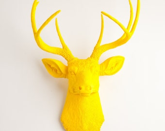 Faux Taxidermy Deer Head - The Pablo - Yellow Resin Deer Head Wall Mount - Stag Wall Hanging by White Faux Taxidermy Animal Head Hanging Art