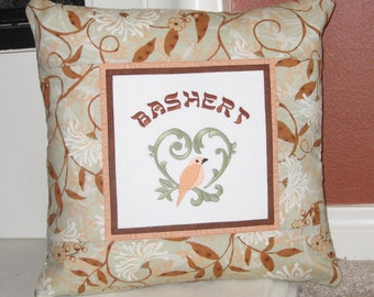 Bashert Jewish Yiddish Soulmate Embroidered Decorative Pillow Cover 16 inch Soft Green