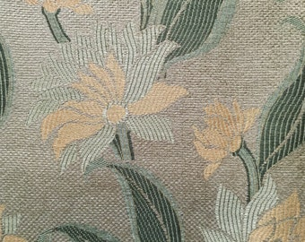 Luxurious Green and Yellow Floral Upholstery Fabric - Upholstery Fabric By The Yard