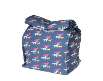 Insulated lunch bag with handle - Horses