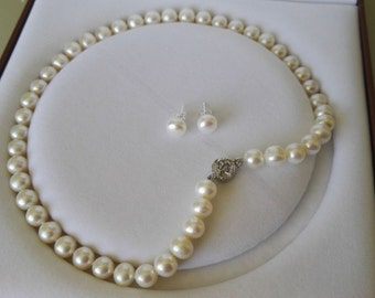 pearl set-genuine pearl necklace, AAA pearl necklace, round pearl necklace, white pearl necklace, pearl necklace earring,mother's gift
